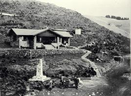 A Car And Excursionists In Front Of The Sign Of The Kiwi, Dyers Pass, Summit Road, Christchurch
